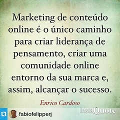 Amanhã vai sair uma pequena entrevista sobre marketing de conteúdo, storytelling e internet com a minha pessoa no blog do @fabiofelipperj. *************** Se eu fosse você eu não perderia. São algumas perguntar legais sobre o mercado de conteúdo digital,