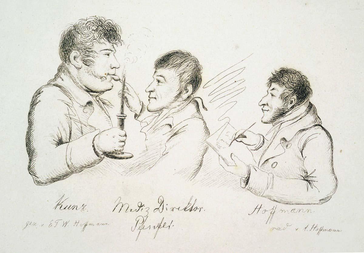 August Hoffmann, E.T.A. Hoffmann zeichnet Carl Friedrich Kunz und Dr. med. Christian Pfeufer, Bamberg 1809--1813, Radierung 1839