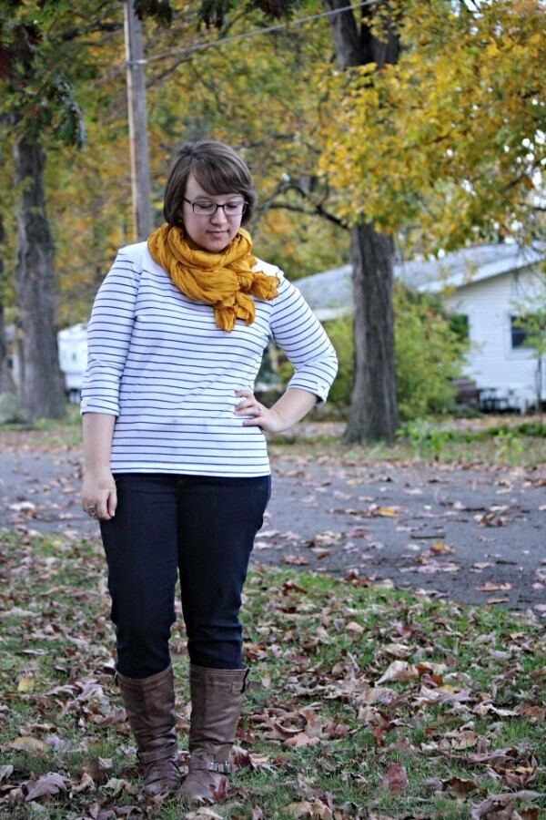 striped top, mustard scarf, jeans, boots