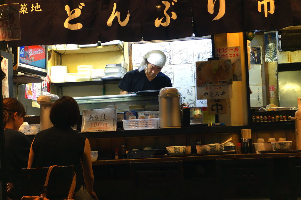 Sushi counter on Shin-Ohashi Dori