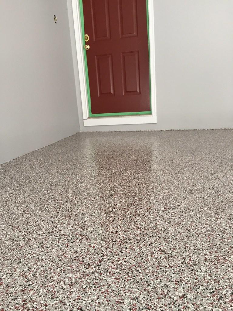 Custom Garage Epoxy Floor Designs: We Finished A Vinyl Chip Epoxy Garage Floor Today In