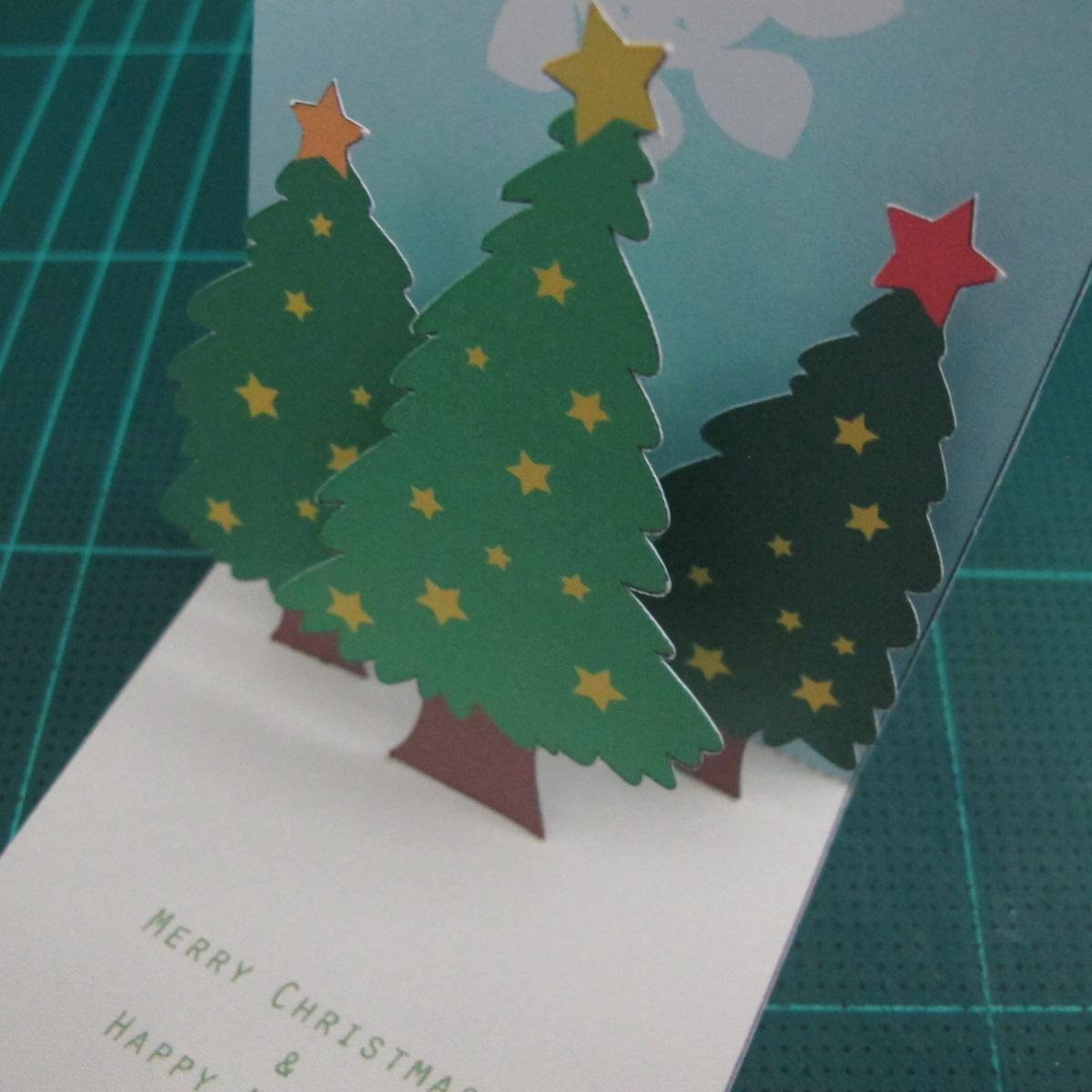 การทำการ์ดอวยพรลายต้นคริสต์มาสแบบป็อปอัป (Card Making Christmas Trees Pop-Up Card Template) 008