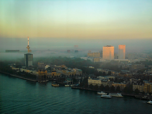 city mist netherlands dutch weather fog skyline architecture river boats high rotterdam view erasmus nederland maas stad euromast veerhaven nieuw weer wereldmuseum