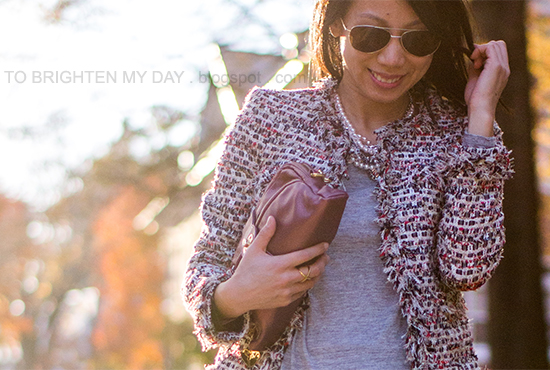 tweed jacket, mixed metal necklace, pink metallic clutch