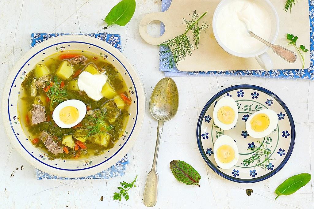 Sorrel  egg and sour cream soup .