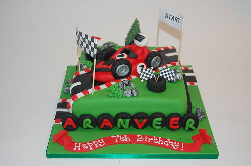 Red Go Karting Cake