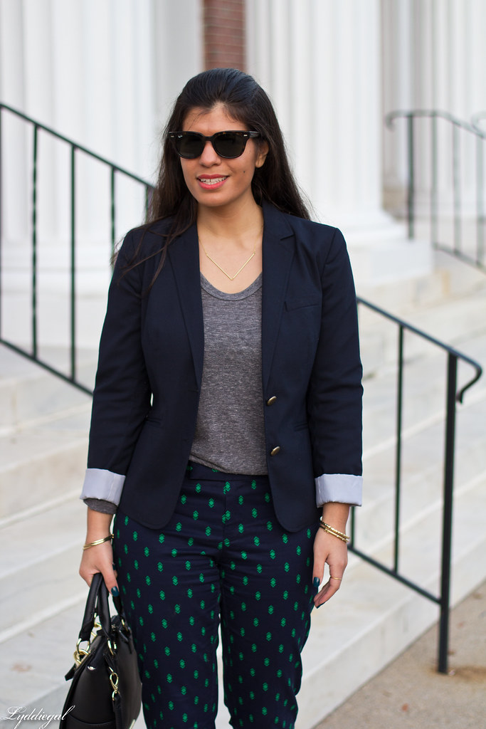 printed pants, navy blazer, grey top-7.jpg