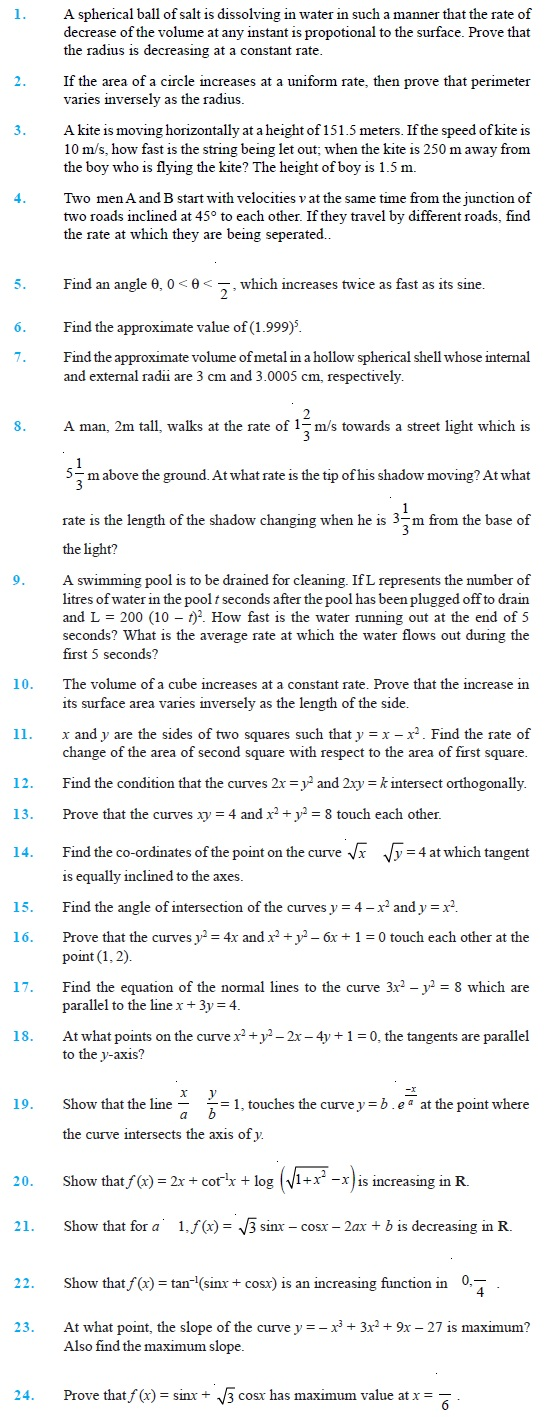Class 12 Important Questions for Maths – Application of Derivatives