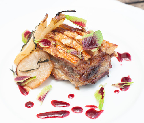 Pork Belly with Roasted Pears & Cranberry Balsamic sauce