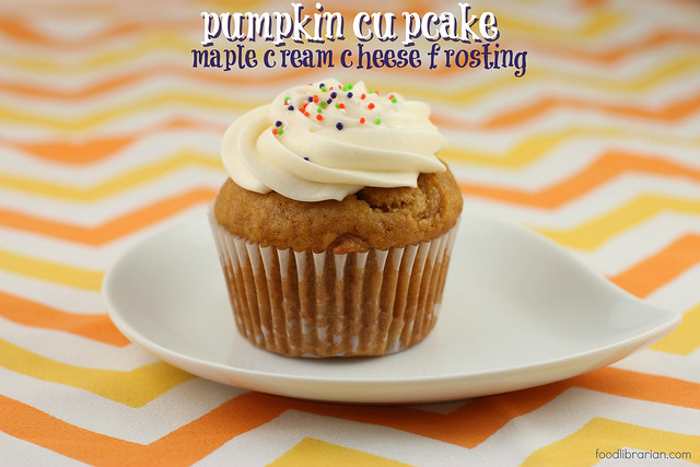 Pumpkin Cupcake with Maple Cream Cheese Frosting