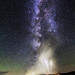 Geyser erupts the Milky Way Yellowstone Night Sky Astrophotography by astroval1
