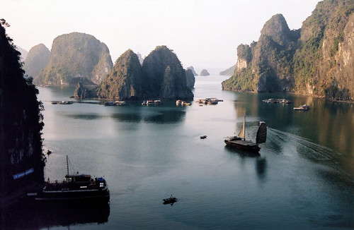 Karst Formations in Halong Bay in Vietnam