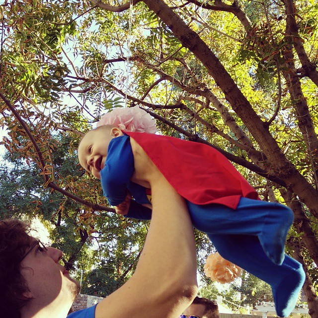 I was super baby for Halloween, and my super daddy helped me fly like a real hero! I had so much fun today! by bartlebaby