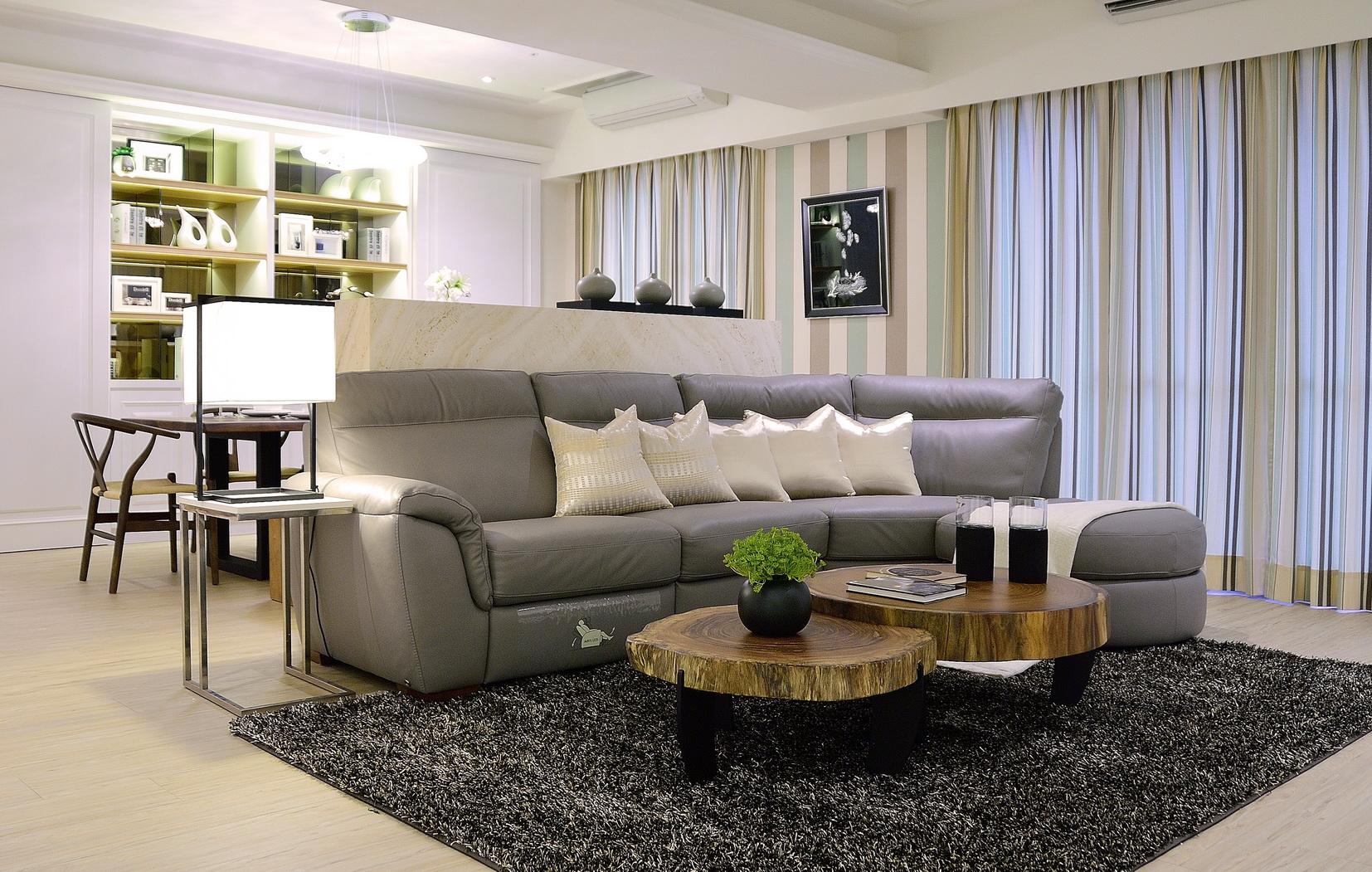 【住宅設計】林口冠東方黃公館-美式簡約居家風客廳-壁紙