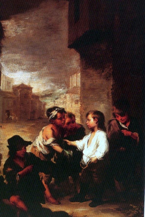 Santo Tomás de Villanueva, niño, repartiendo sus ropas. Bartolomé Esteban Murillo. Óleo, 1667