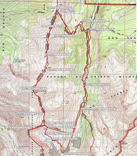 California Peak Topo Map Waypoints