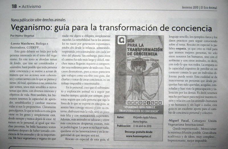 """Nota en el Periódico """"El Ecoanimal"""" Ed. Invierno de 2010:"""