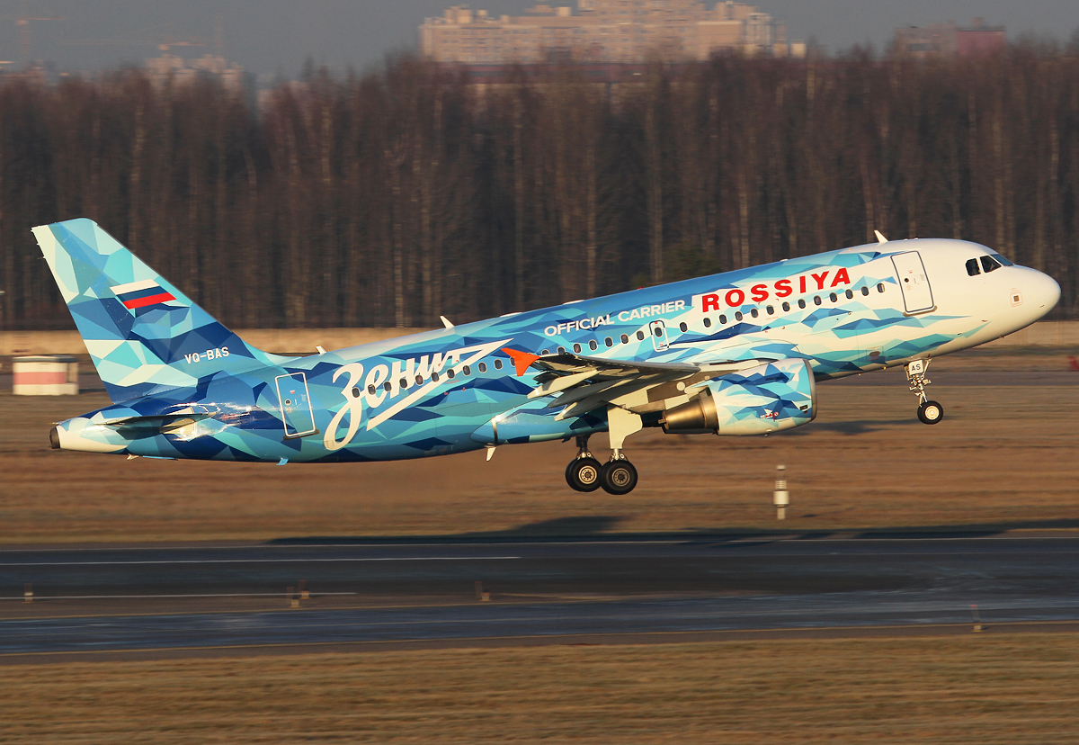 "Climbing out of RWY10L on a flight to Simferopol SIP. Looking great with the new ""FC Zenit St Petersburg"" livery in crispy cold winter light. Delivered 10/2002 to Frontier."
