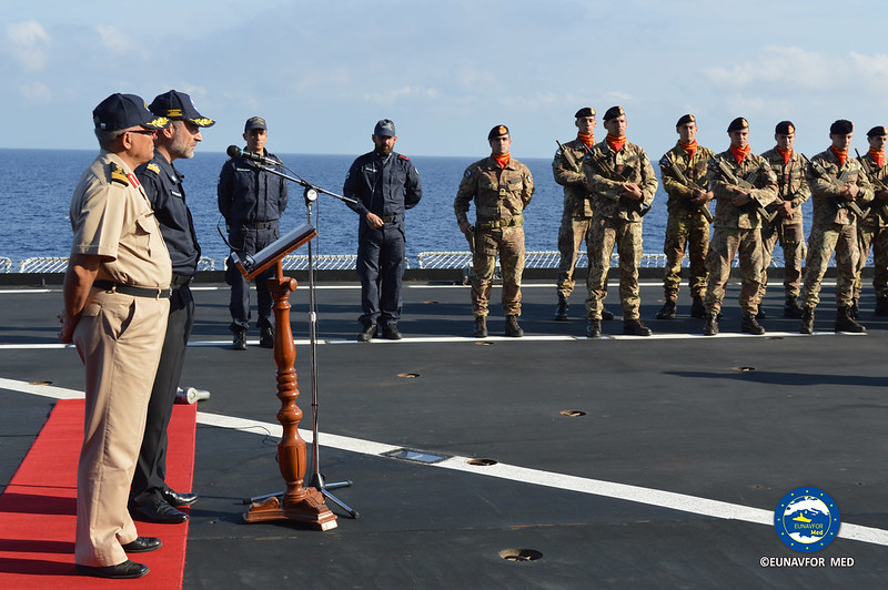 OPCDR and Commodore Toumia on board the Training Ships – EUNAVFOR MED