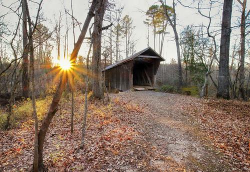 bunkerhillcoveredbridge northcarolina rural old coveredbridge sunset sunstar eosm canonefm1122 wideangle