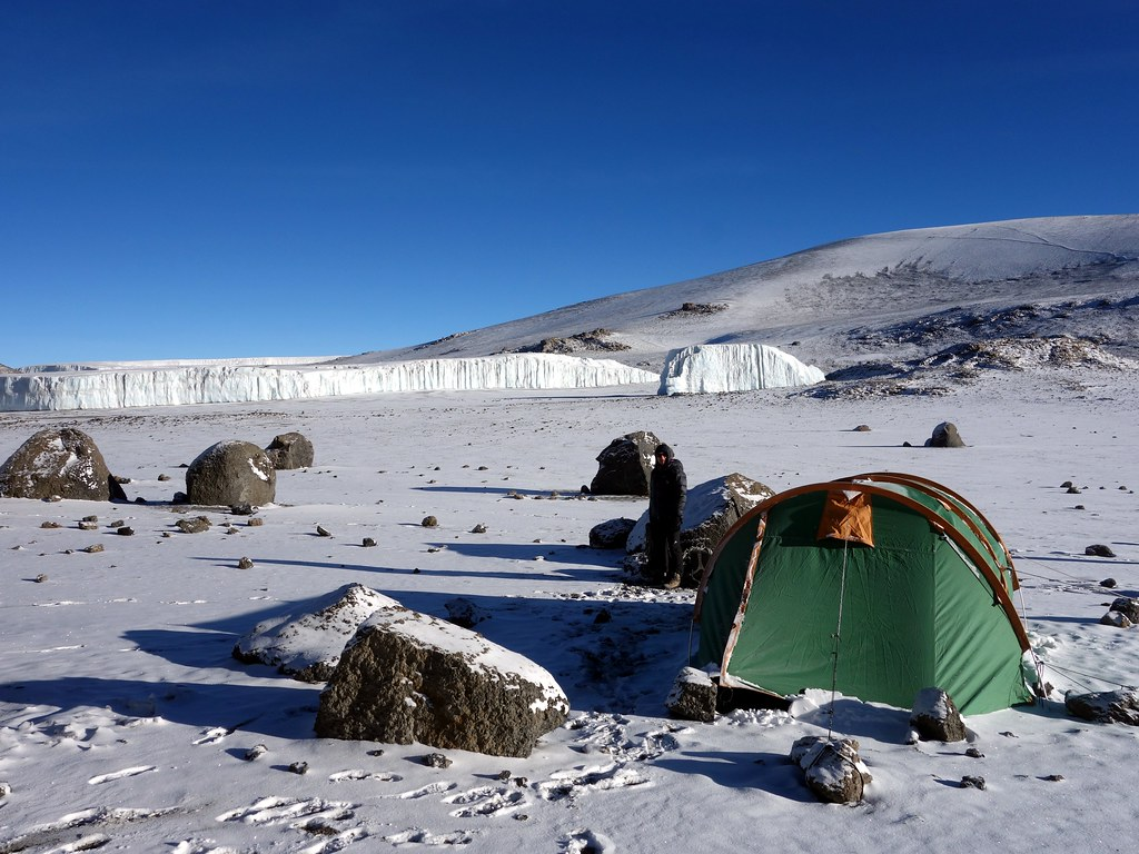 Snowy morning at Crater Camp