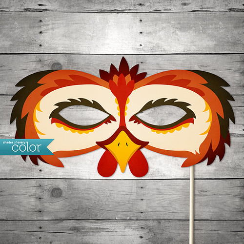 Printable Rooster Mask - Shades of Every Color