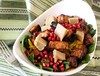 Baby Kale,Spinach & Golden Beet Salad with Pomegranate Sirracha Tofu