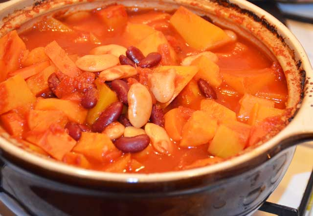 beans, onions, squash, carrot, swede and parsnip in a stew