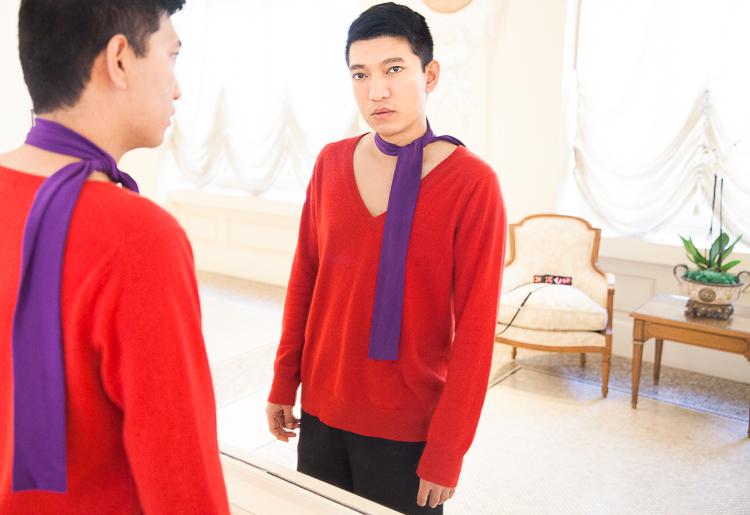 Purple Prada silk tie scarf