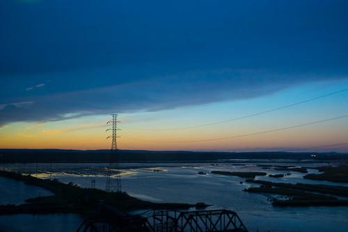 water newjersey dusk powerlines