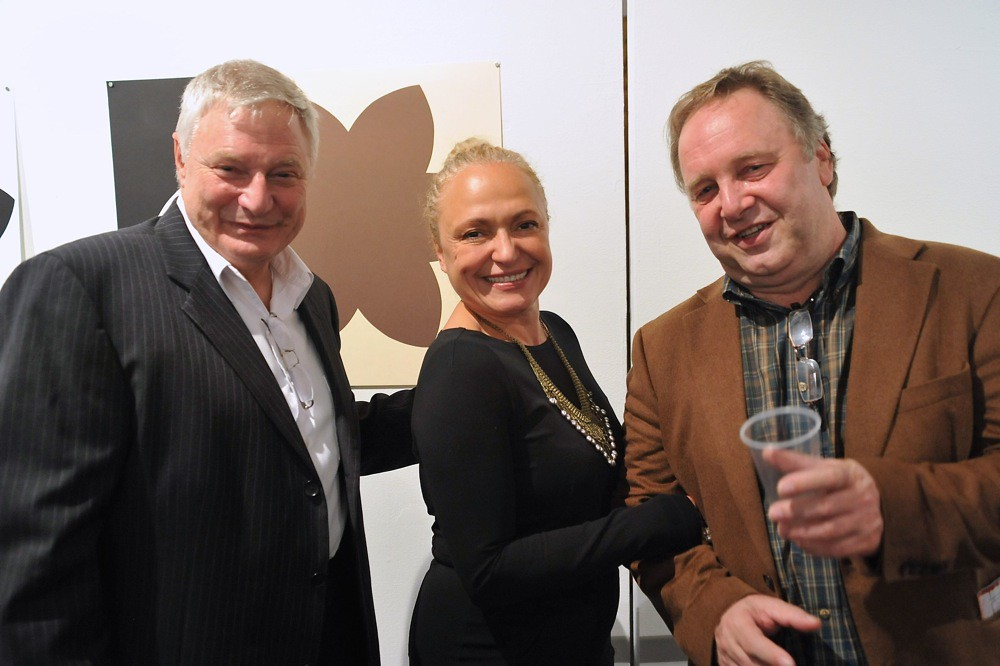 "<p>Nicolas, Lilia Slavova and Peter Karapetkov at the Opening Reception of ""Rage""<br /> <br /> Photo By Val Radev</p>"