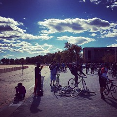 Cyclists invade Orchard Beach. #bronx #boogiedown #cycling #rideon #fitness #fitnessfreak #fitinmyforties
