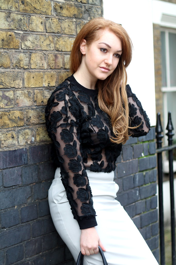 Black lace top and white pencil skirt (4)