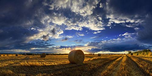light sunset shadow summer sky panorama hayball