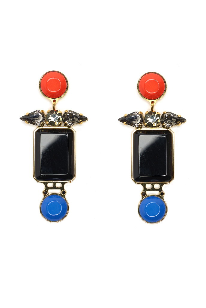 Black Collage Earrings