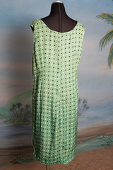art, day dress, textile, clothing, aqua, polka dot, green, dress,