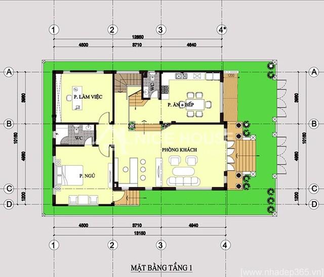 Thiết kế biệt thự 3 tầng 10x14m-tầng 1