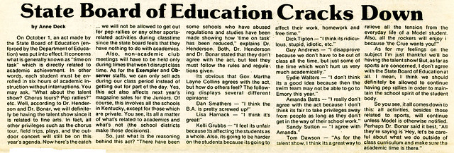 """The Observer"" October 15, 1984 p.1: ""State Board of Education Cracks Down"""