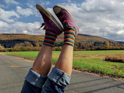 sprite's socks framed against Vermont foliage.