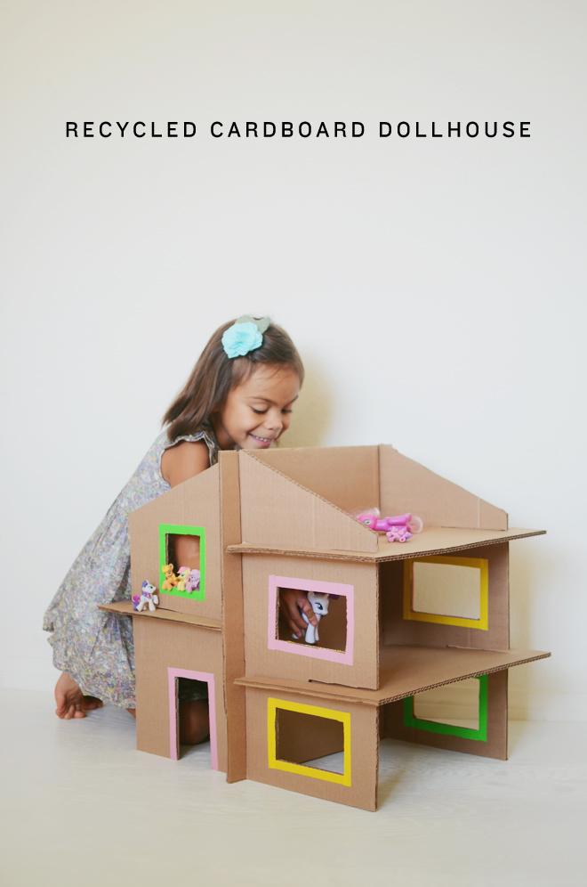 recycled cardboard dollhouse