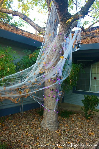 Spooky spider infested halloween tree