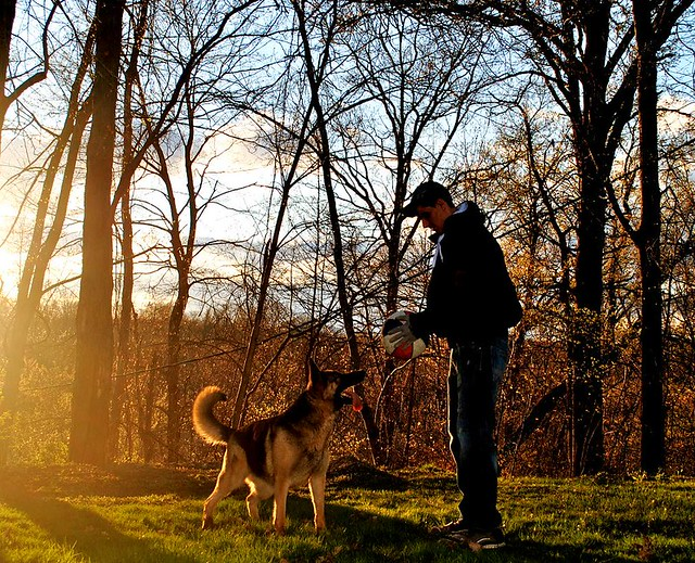 Chris (Homo sapiens) with Canis familiaris