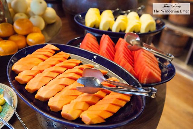 Fresh papaya and watermelon at Made in China's breakfast buffet