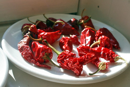 drying chiles on the sill