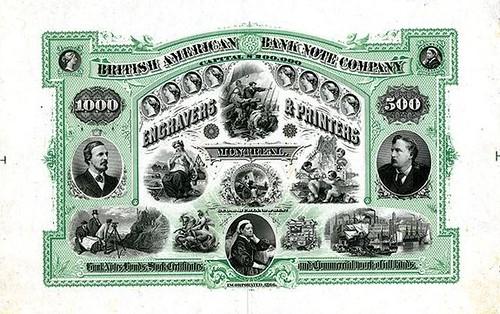 Lot 1053 British American Bank Note Company Engravers Printers