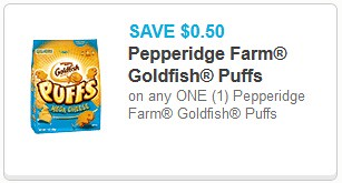 picture relating to Goldfish Printable Coupons named Reset* 0.50/1 Goldfish Puffs Printable Coupon ($1.48 at