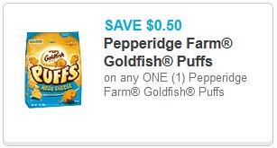 picture relating to Goldfish Printable Coupons identified as Reset* 0.50/1 Goldfish Puffs Printable Coupon ($1.48 at