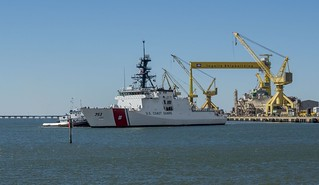 The fourth National Security Cutter, Hamilton (WMSL 753), sails away from the Ingalls Shipbuilding shipyard on Saturday November 1, 2014. The U.S. Coast Guard ship will be commissioned on Dec. 6 in Charleston, S.C. (Photo courtesy Ingalls Shibuilding)