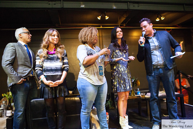 "The cast of ""The Kitchen"" - (left to right) Chef Geoffrey Zakarian, Marcela Valladolid, Sunny Anderson, Katie Lee, and Jeff Mauro"