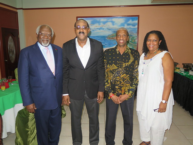 (l-r) Dr. Julius Garvey, Hon. Gaston Browne Prime Minister of Antigua and Barbuda; ASG Dr. Douglas Slater; Hillary Browne